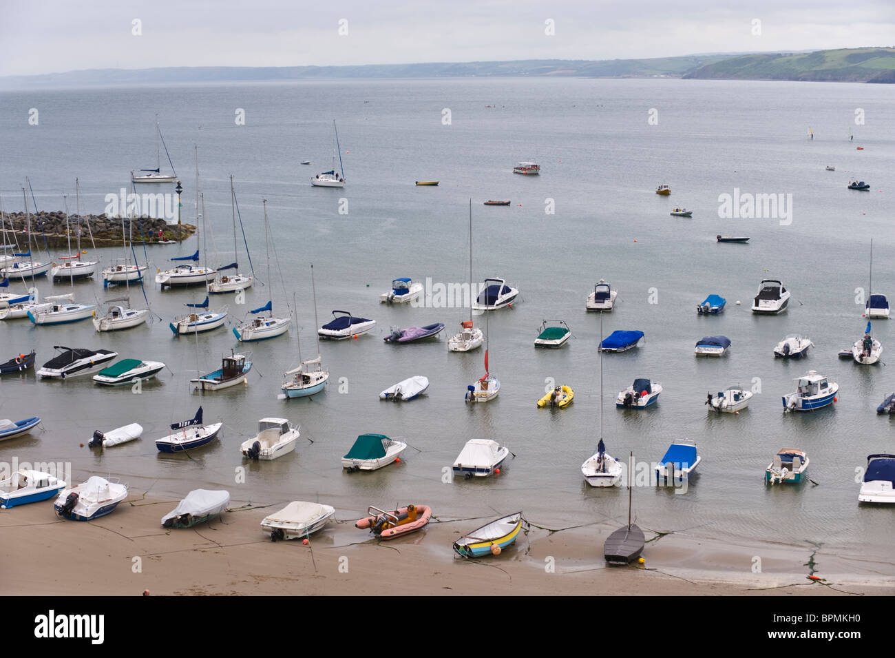 View over moorings for leisure craft in the Welsh seaside holiday resort of New Quay Ceredigion West Wales UK - Stock Image