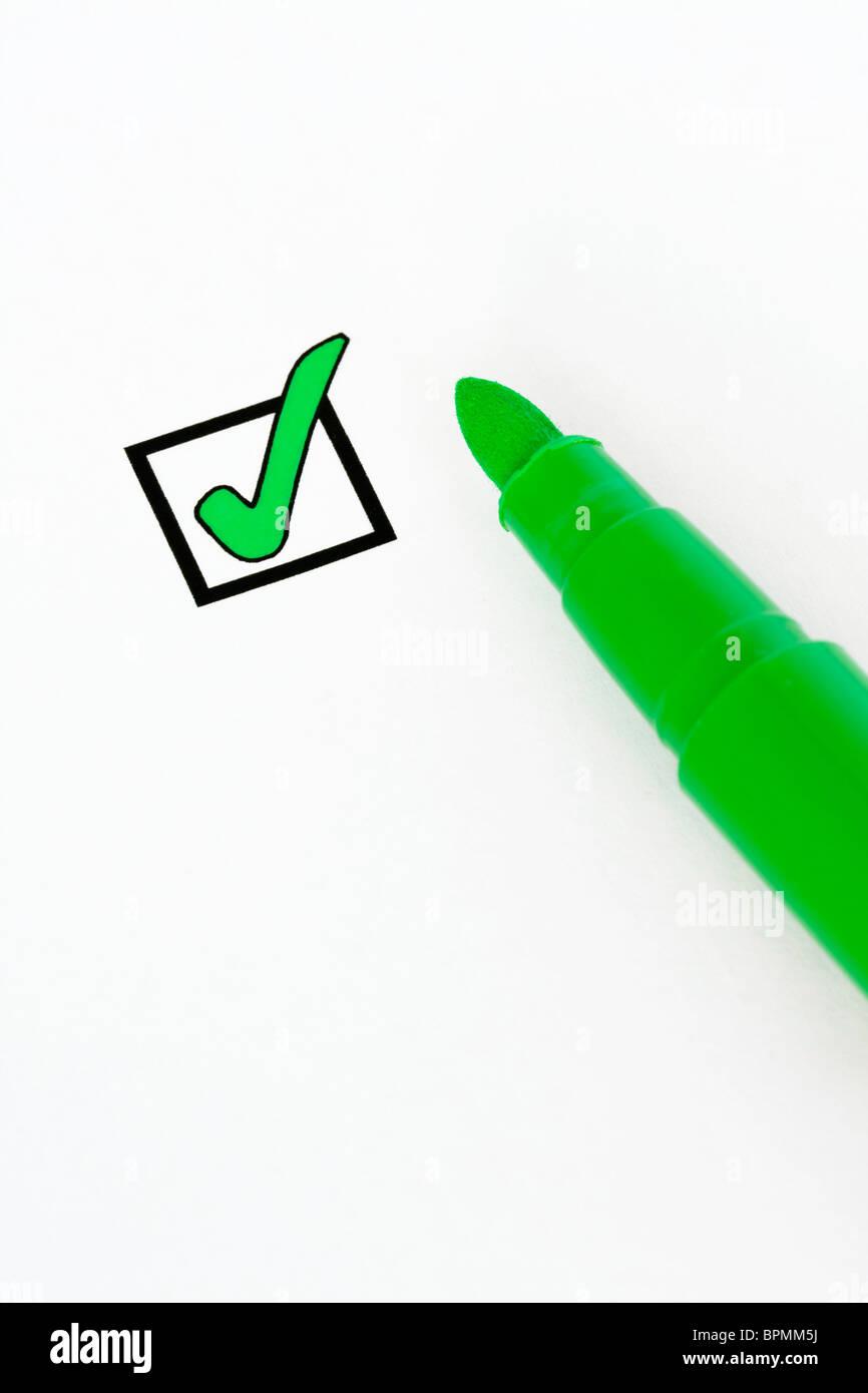 Green check box - Stock Image
