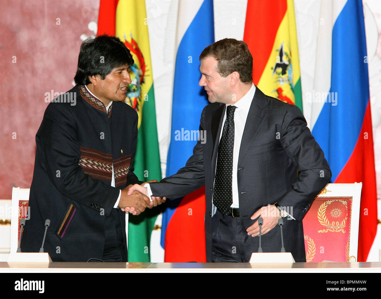 Presidents of Russia and Bolivia meet for talks - Stock Image