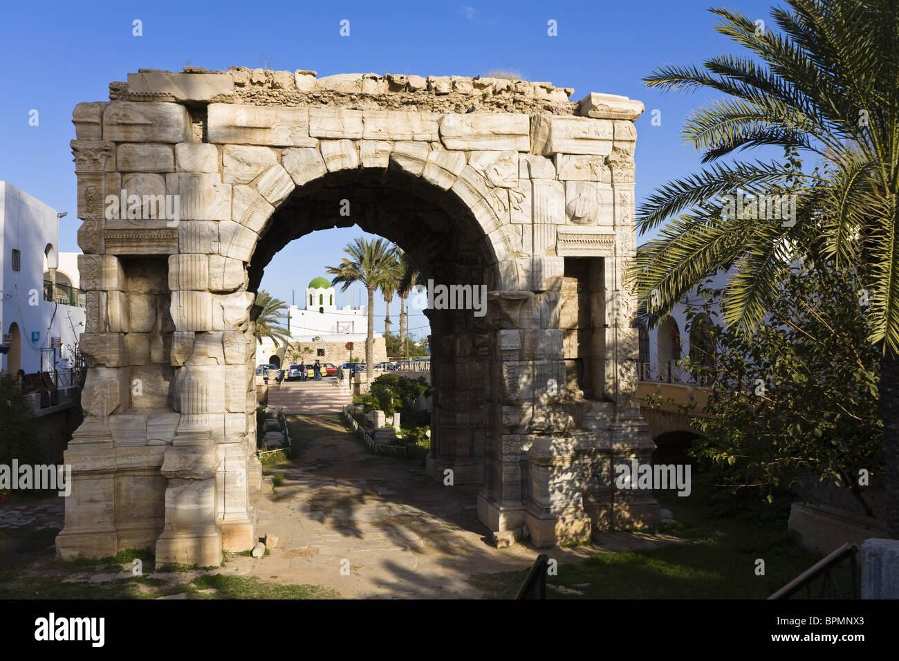 Triumphal Arch of Marc Aurel, Tripoli, Libya, Africa - Stock Image
