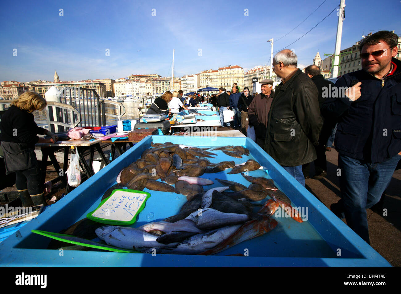 People at a stand at the fish market, Marseille, France, Europe - Stock Image