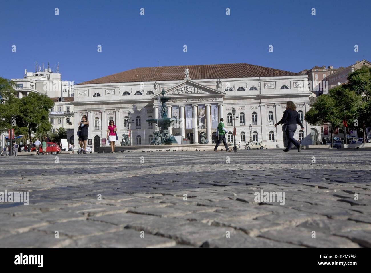 National Theater Dona Maria II, Rossio square, Baixa, Lisbon, Portugal Stock Photo