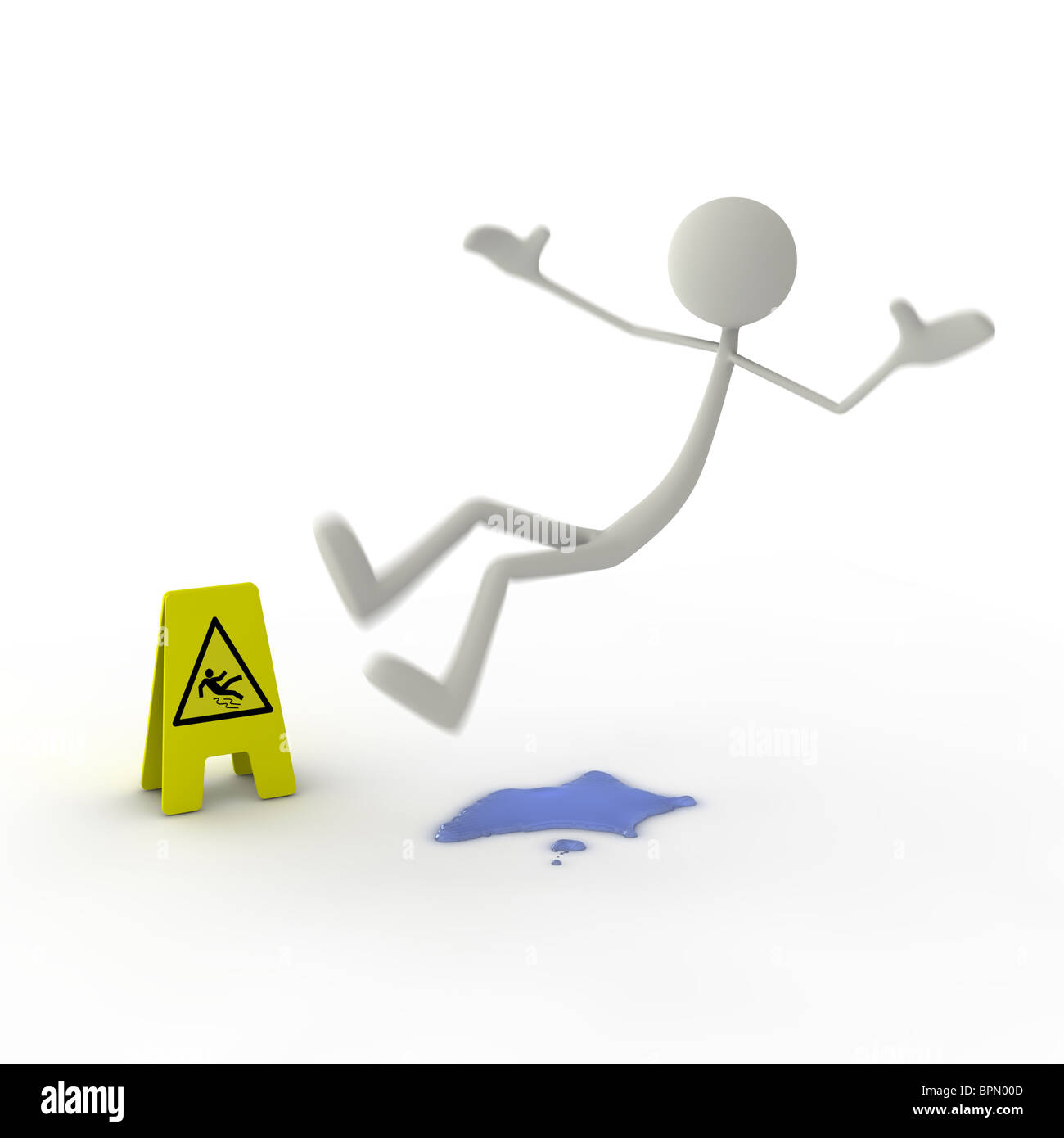 Figure slipping on puddle of water Stock Photo