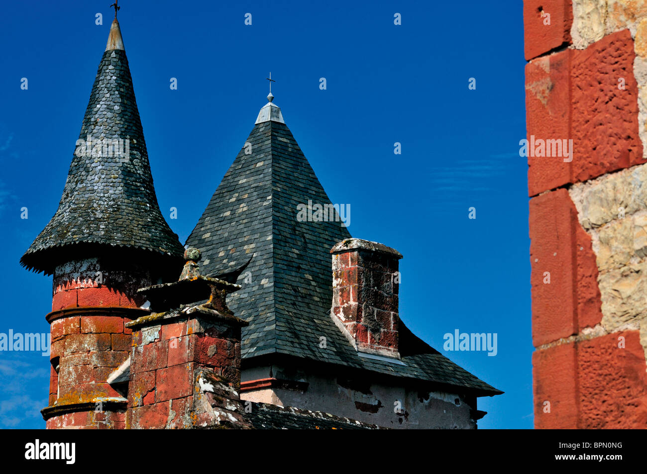 France: Top of a Tower house in Collonges-la-Rouge - Stock Image