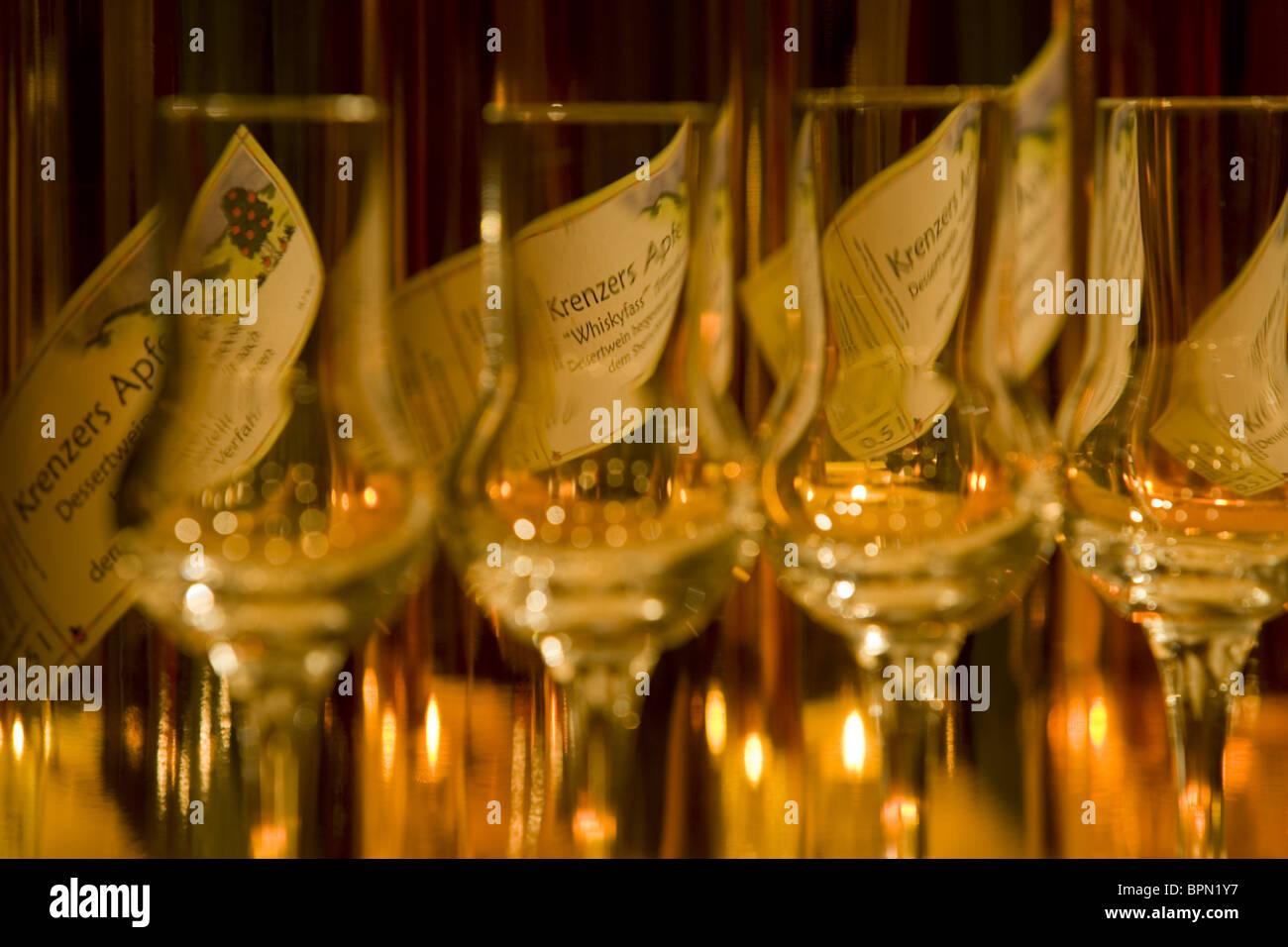 Apple Sherry Bottles in the Rhoener Schau-Kelterei, Gasthof Zur Krone, Das Rhoenschaf Hotel, Ehrenberg, Seiferts, Stock Photo