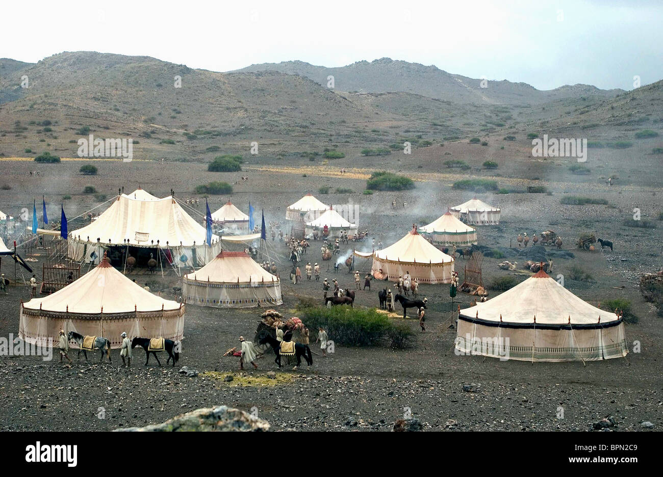 TEMPORARY CAMP SITE ALEXANDER; ALEXANDER THE GREAT (2004) - Stock Image