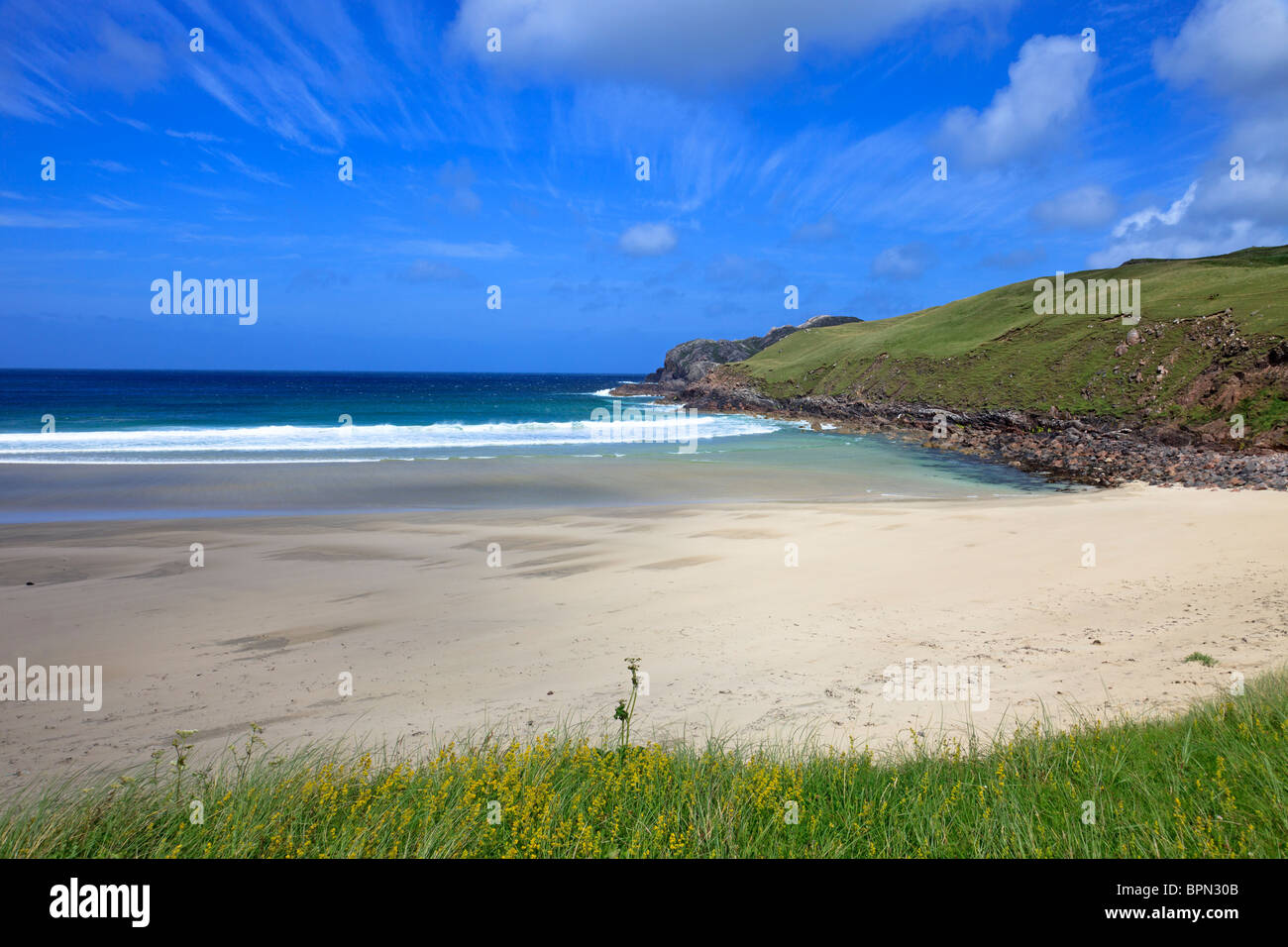 Cliff beach, Isle of Lewis, Outer Hebrides, Scotland - Stock Image