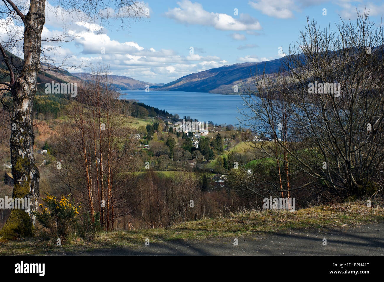 View of Loch Earn from Glen Ogle trail Stirlingshire Scotland - Stock Image