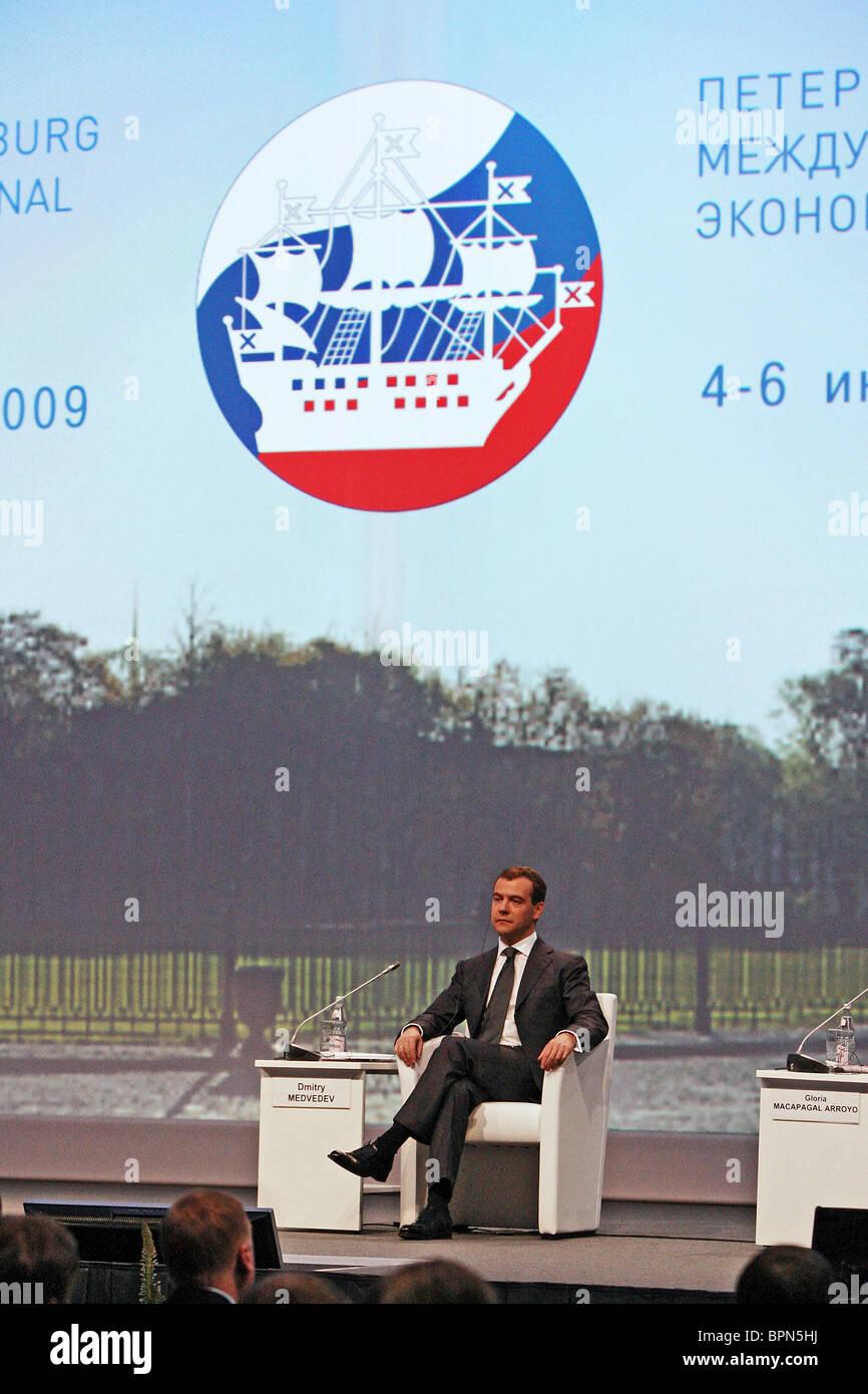 Medvedev attends St Petersburg International Economic Forum, Day 2 - Stock Image