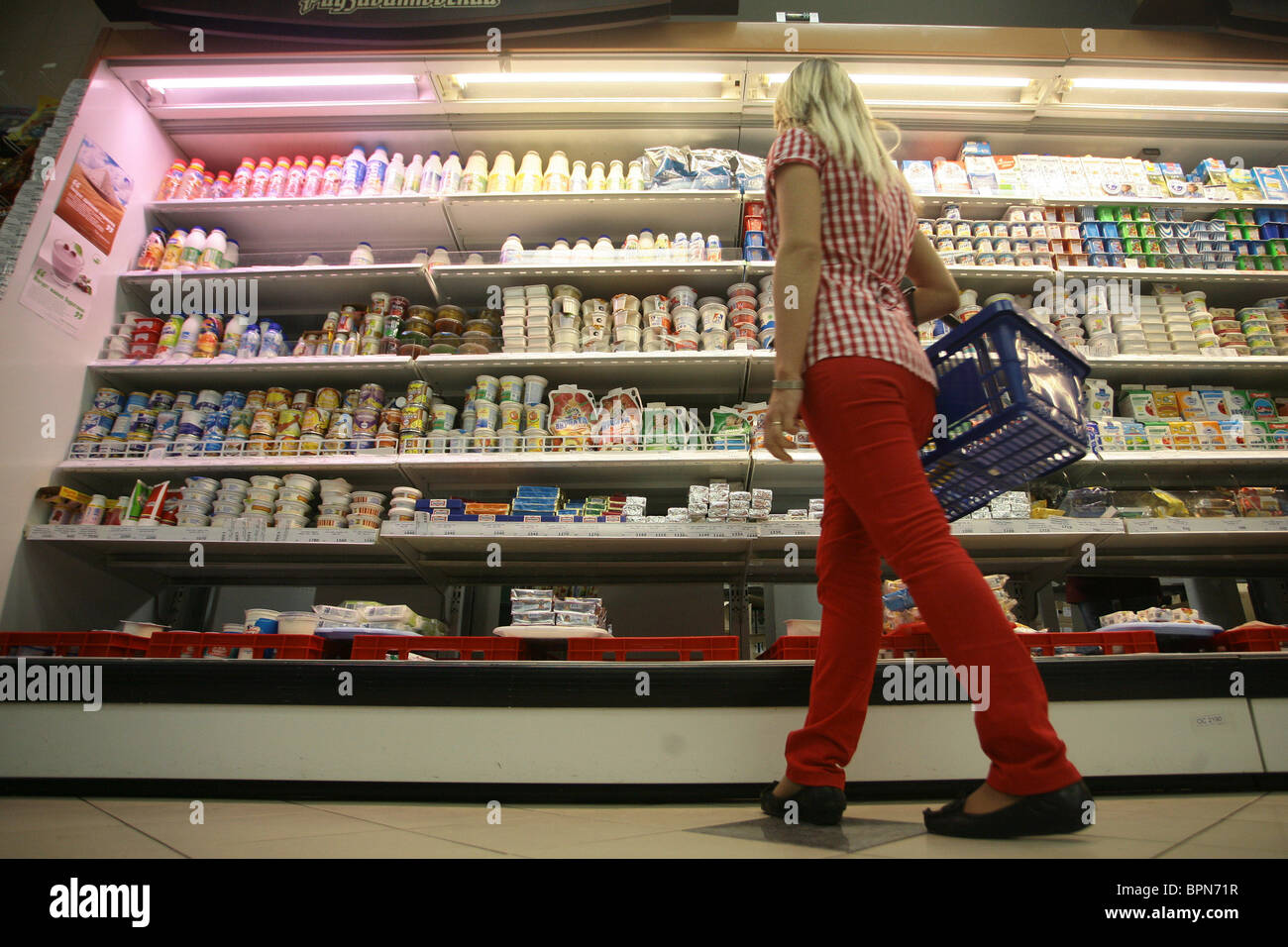Russia bans imports of Belarus dairy products - Stock Image