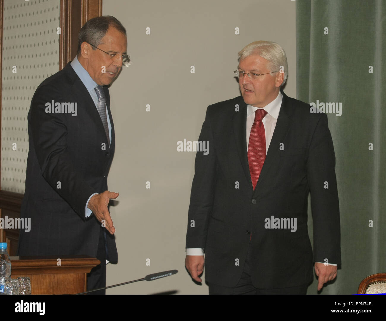 Russian and German Foreign Ministers meet for talks - Stock Image