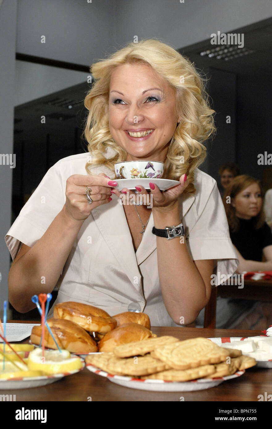 Health minister Golikova volunteers to donate blood - Stock Image