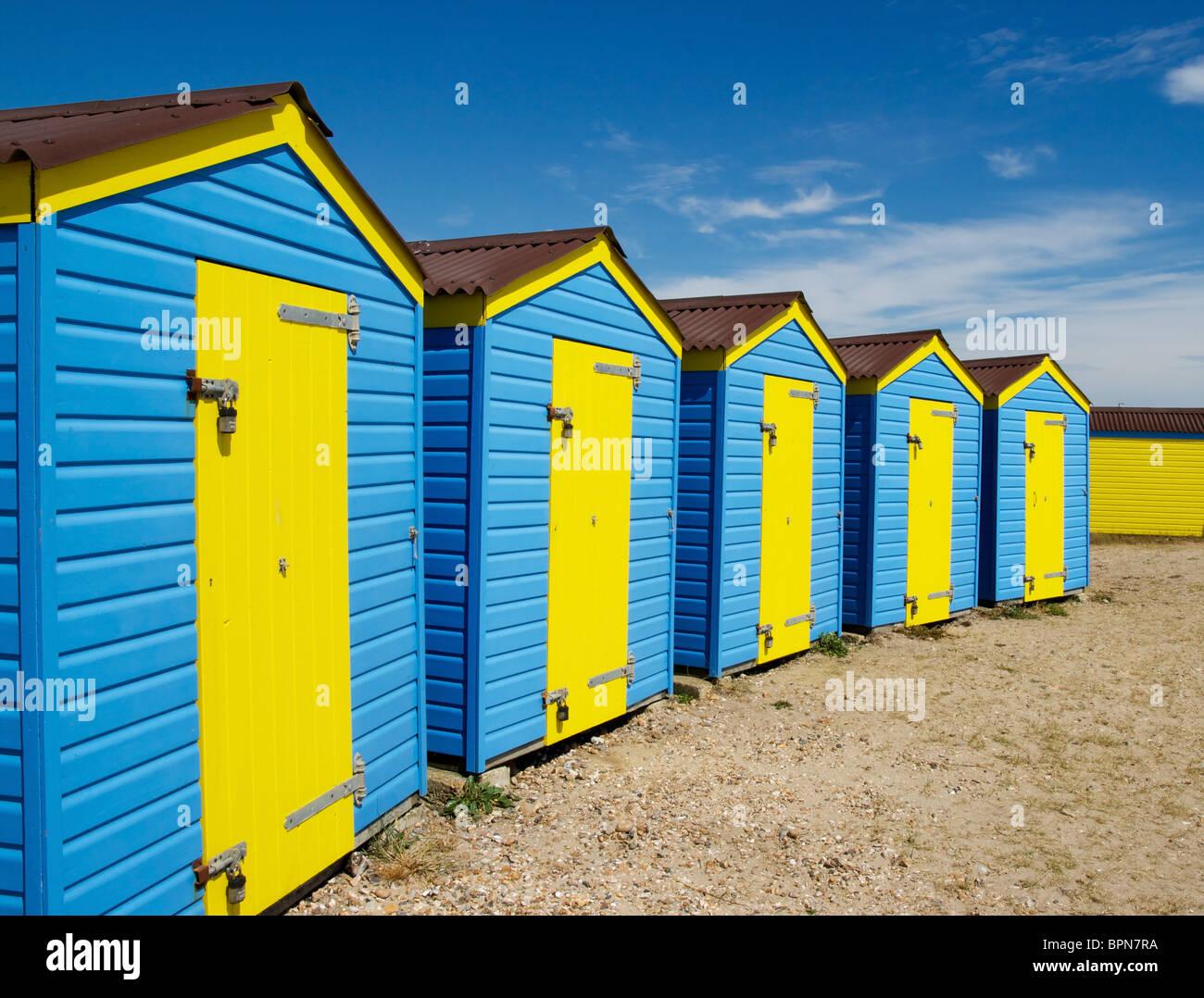 Beach Huts on England's South Coast - Stock Image
