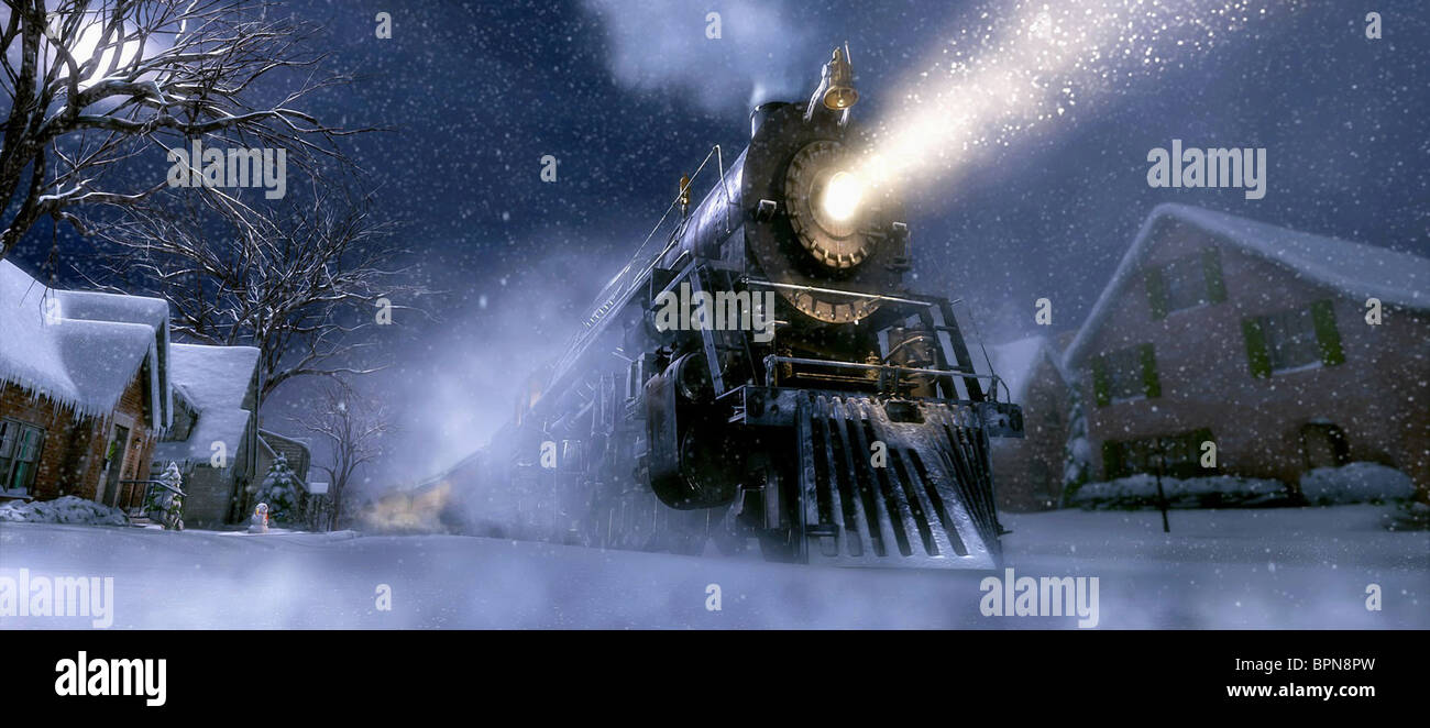 TRAIN ARRIVES ON BOY'S STREET THE POLAR EXPRESS (2004) - Stock Image