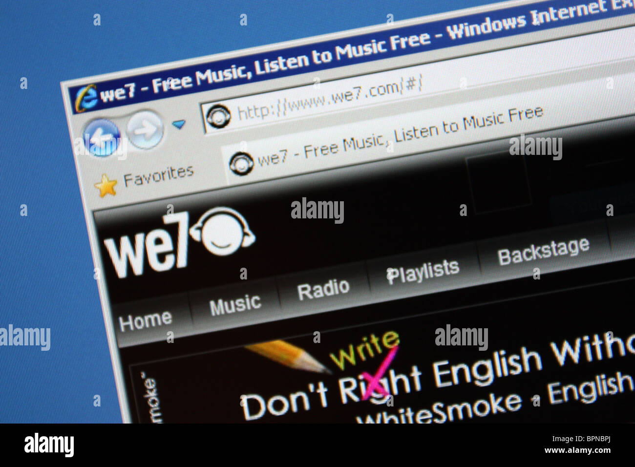 we7 we7 com online music streaming Stock Photo: 31203050 - Alamy