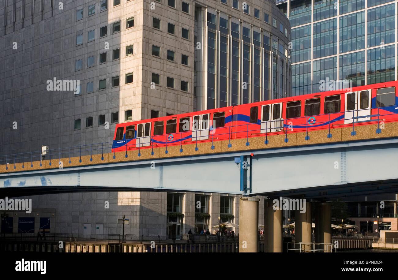 DLR train at Canary Wharf, London, England - Stock Image