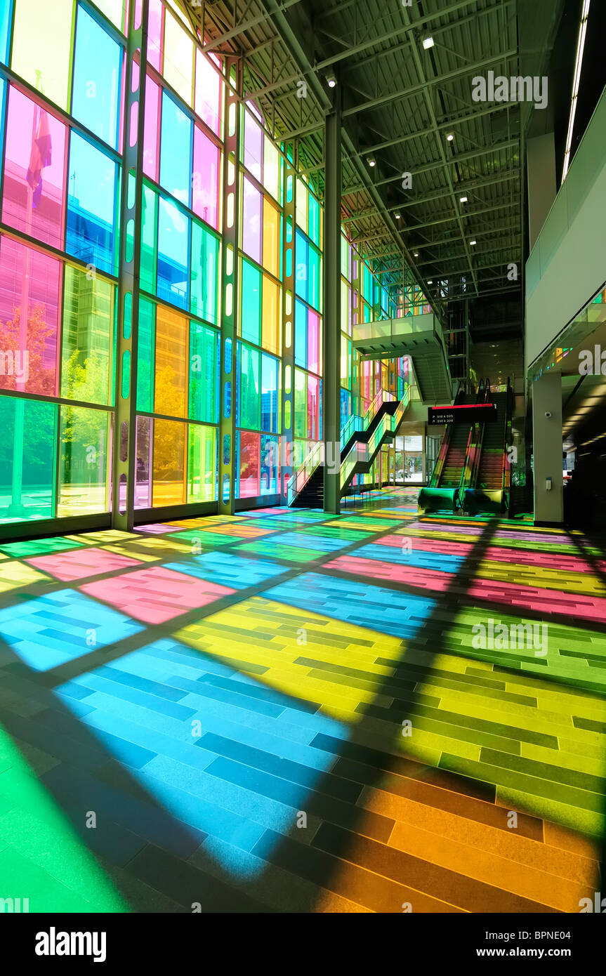 the multi colored glass windows of the montreal convention centre the palais des congres - Colored Glass