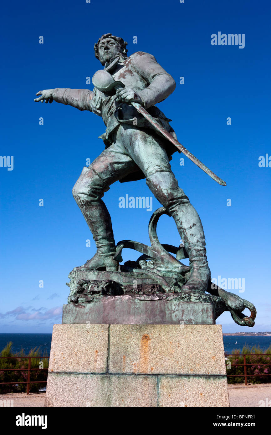Statue of Robert Surcouf, Corsair, St Malo, France - Stock Image