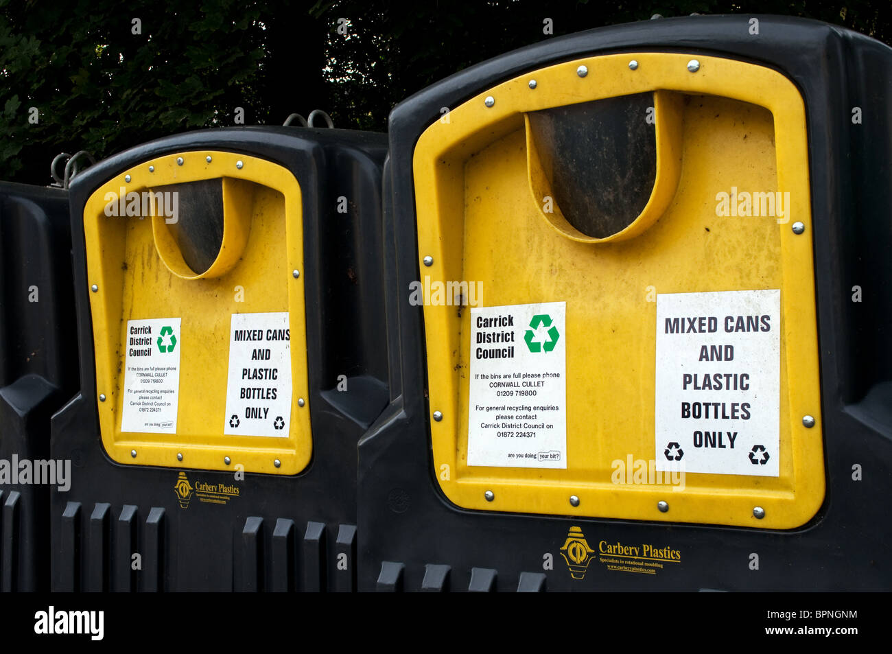 recycling bins for tin cans and plastic bottles, uk Stock Photo