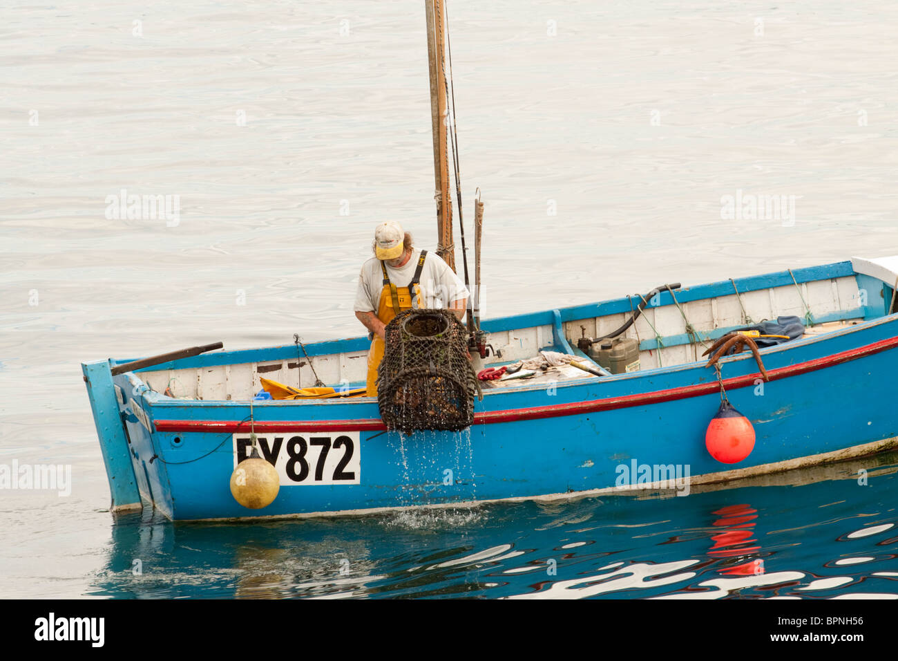 A Cornish crab fisherman on his boat pulls a crab pot/net from the sea, Cornwall, England, UK - Stock Image
