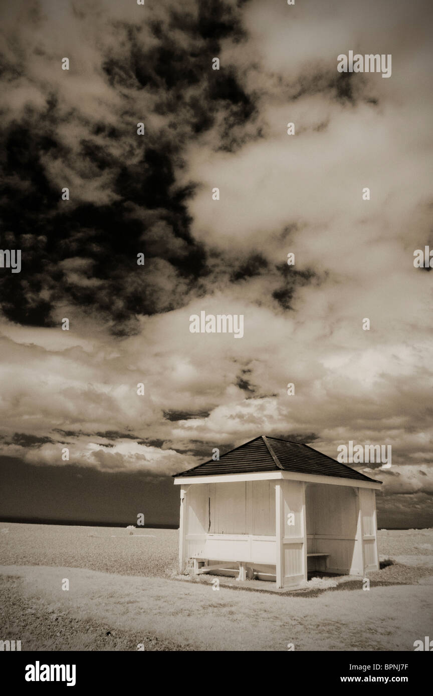 empty hut on shingle beach at aldeburgh suffolk uk - Stock Image