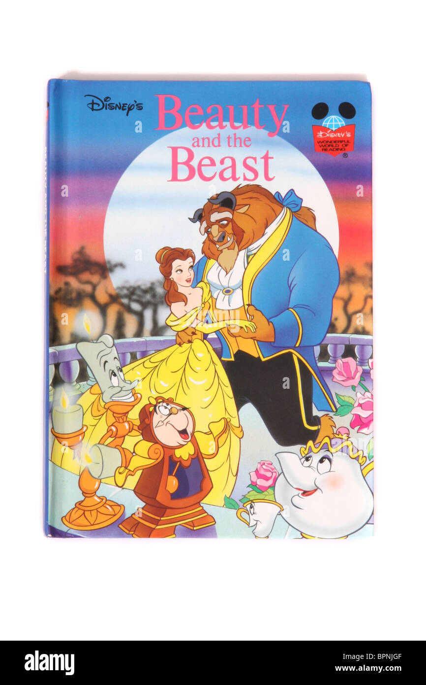 A hardback book by Walt Disney's. The classic fairytale 'Beauty and the Beast' - Stock Image