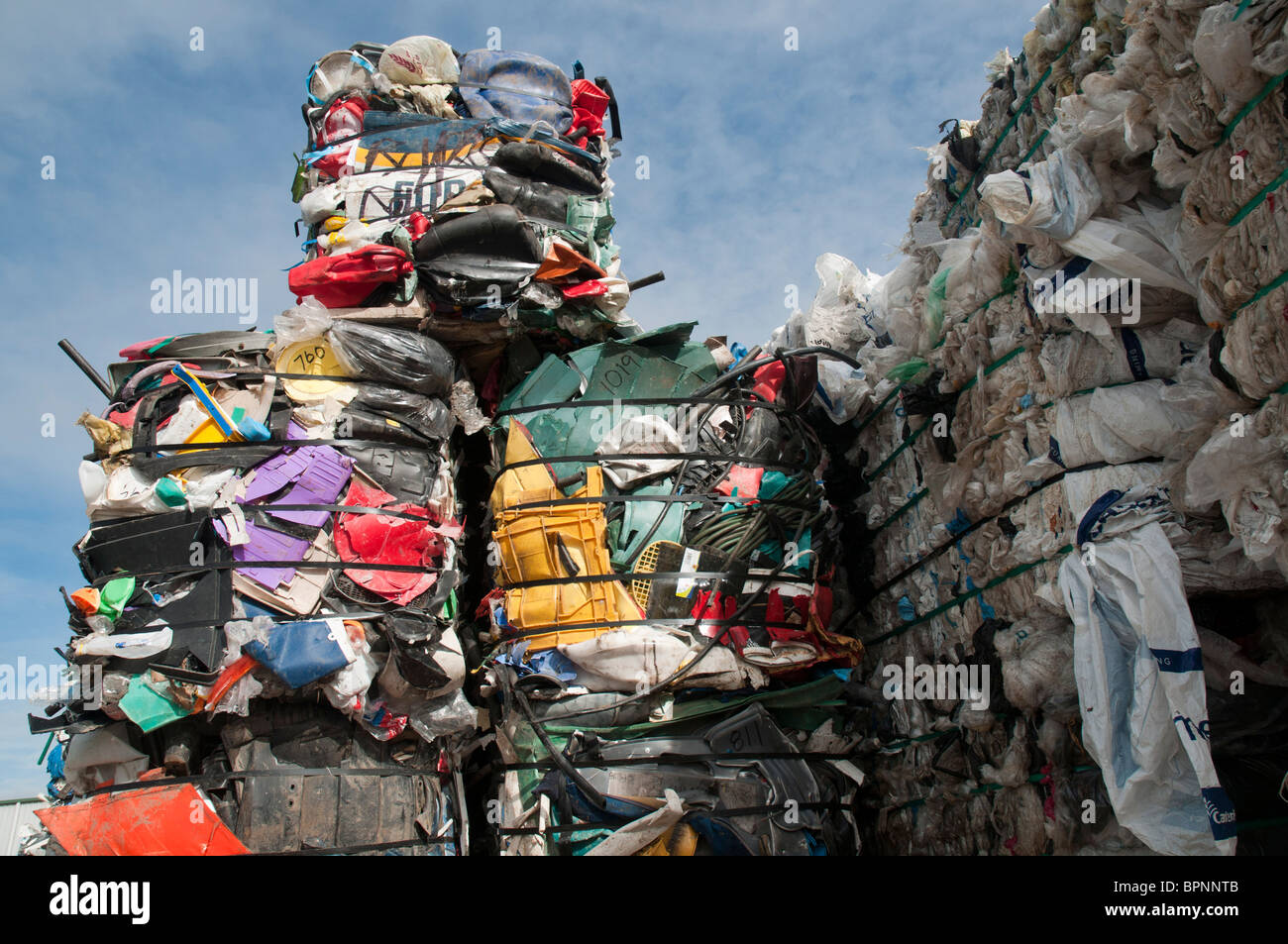 Plastics for recycling at a recycling plant - Stock Image