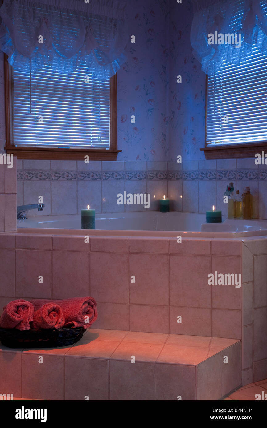 Luxury Jacuzzi and Bathtub in Home Bathroom Stock Photo: 31210950 ...