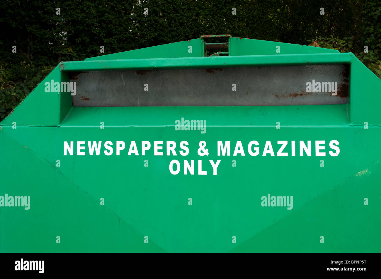 a recycling bin for magazines and newspapers, uk - Stock Image