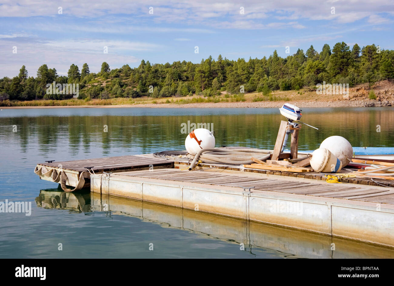 Dock Floats On Lake In Stock Photos & Dock Floats On Lake In Stock