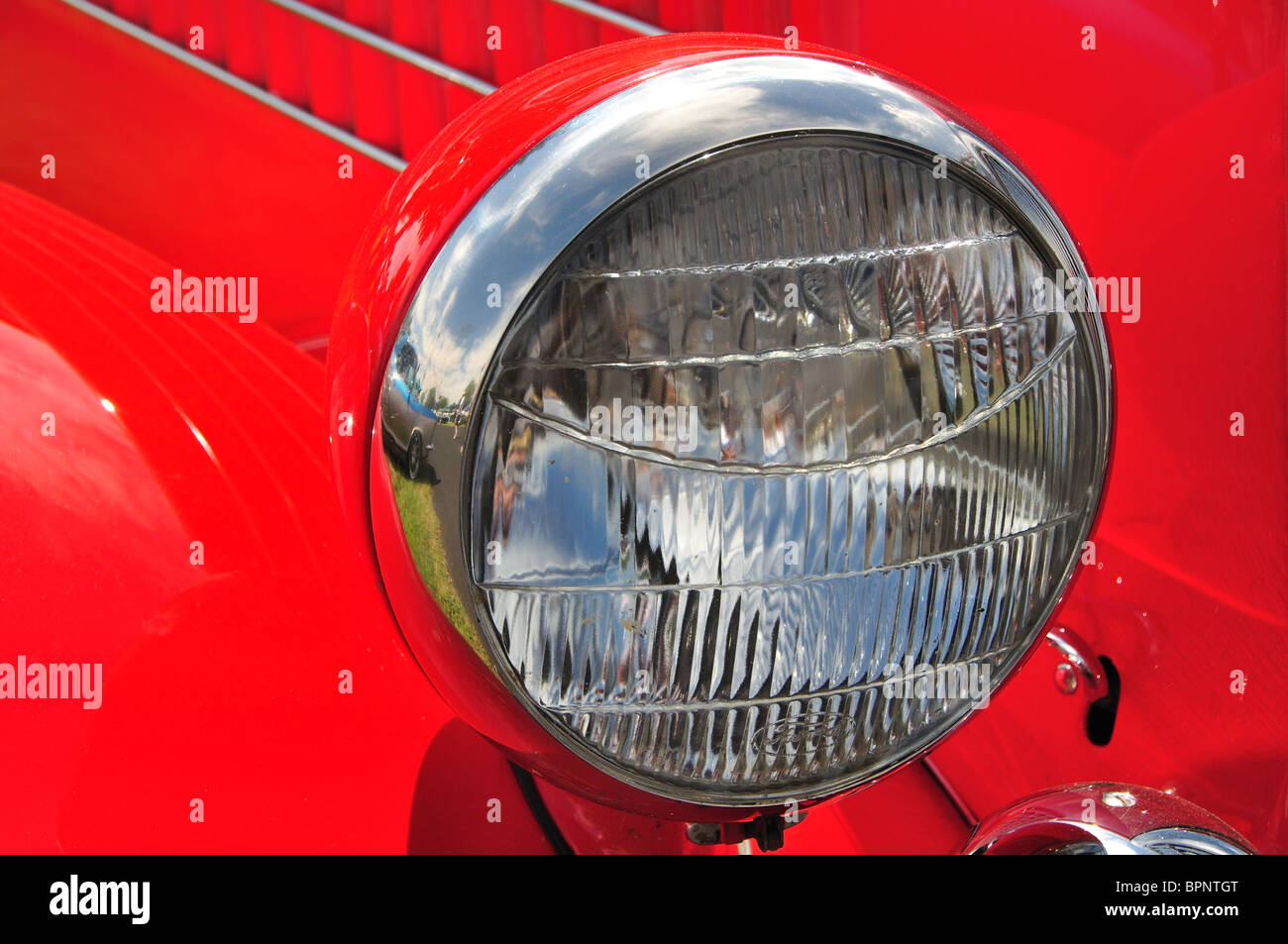 Headlamp of a 1936 Ford - Stock Image