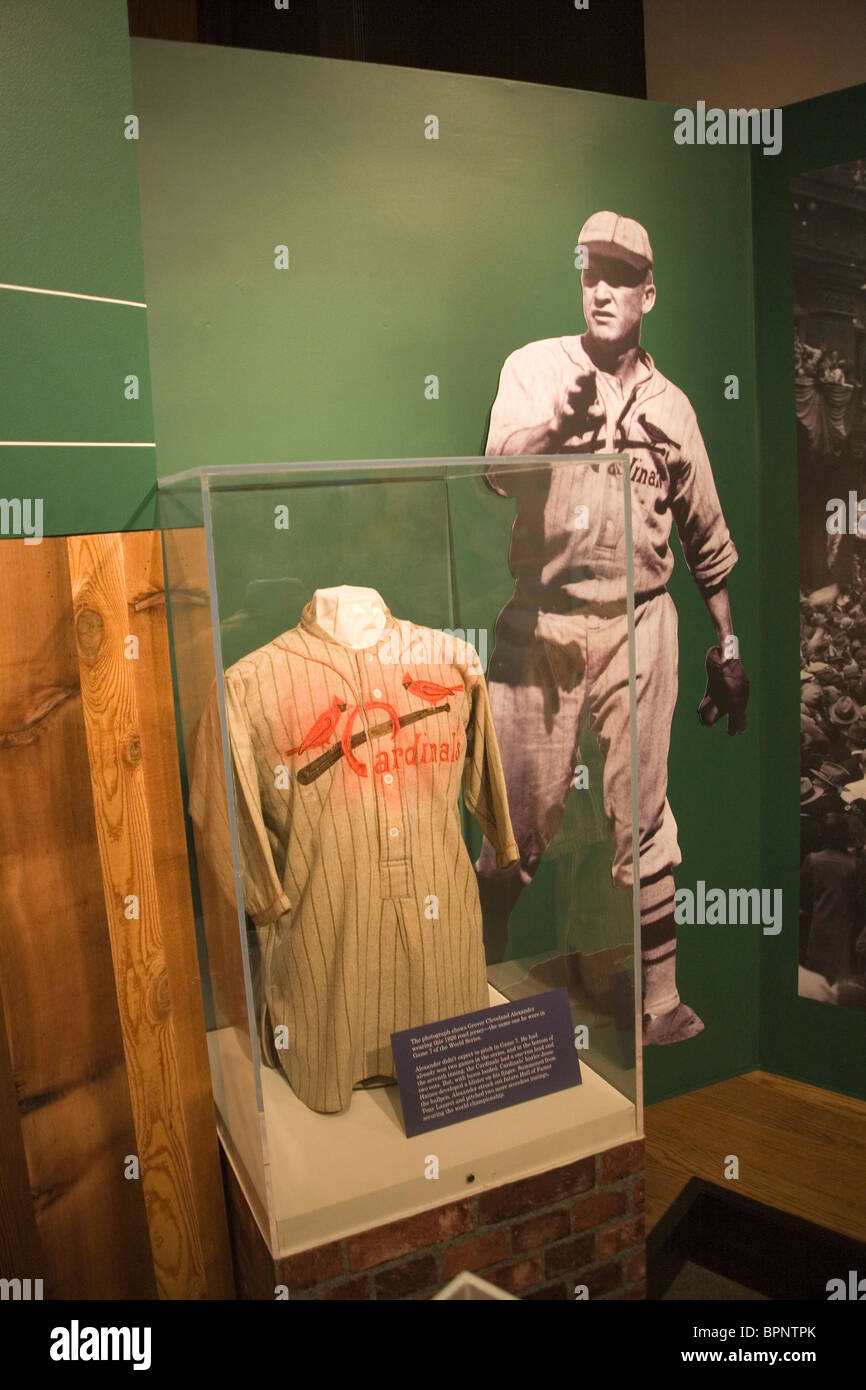 Old Cardinal baseball uniform in museum at St. Louis Gateway Arch - Stock Image