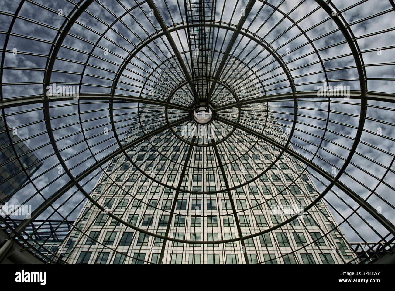 Cabot Place and One Canada Square, Canary Wharf, London, England - Stock Image