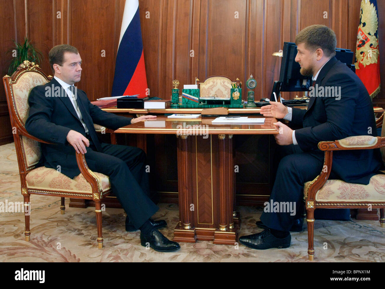 Medvedev meets Chechen president - Stock Image