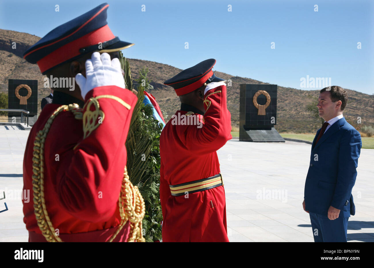 Medvedev on official visit to Namibia - Stock Image