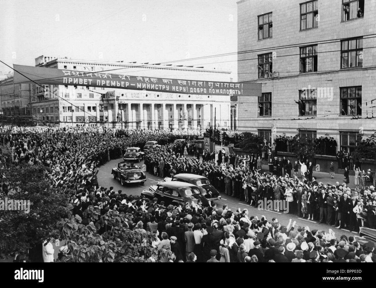 Jawaharlal Nehru visit to Soviet Union, 1955 - Stock Image