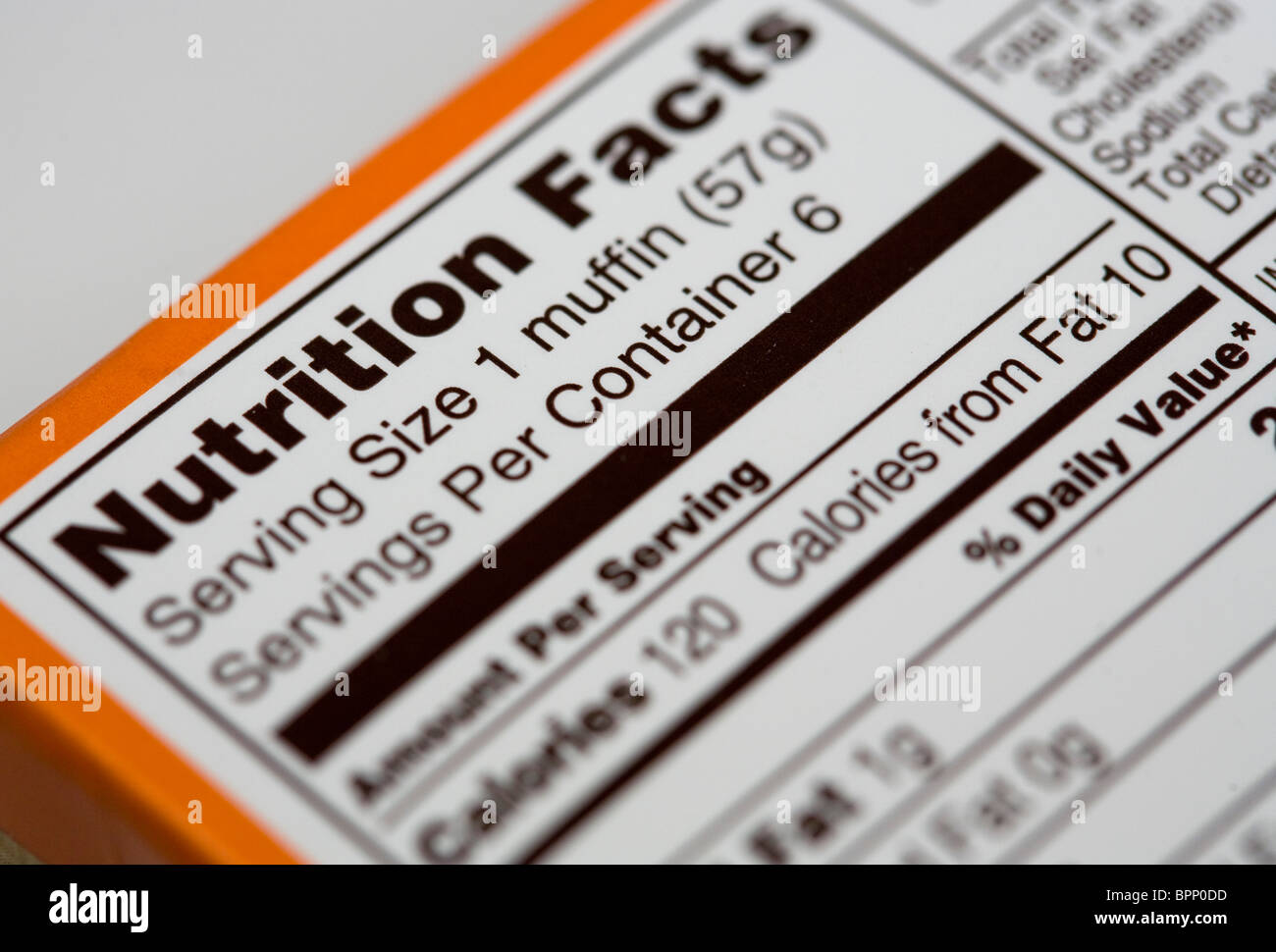 A United States food nutrition facts chart. - Stock Image