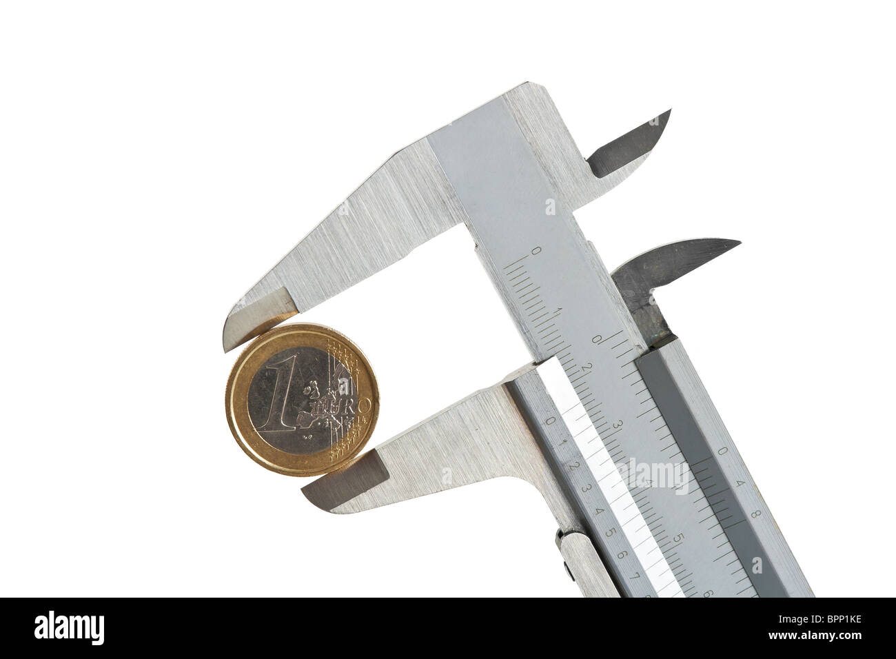 caliper with one euro coin isolated on white background with clipping path - Stock Image