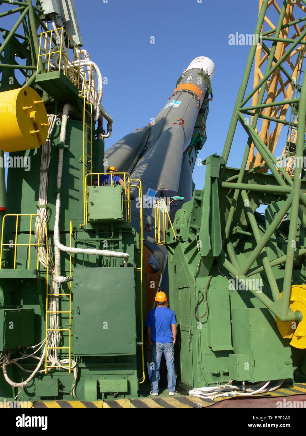 Soyuz-U rocket to launch from Baikonur Cosmodrome - Stock Image