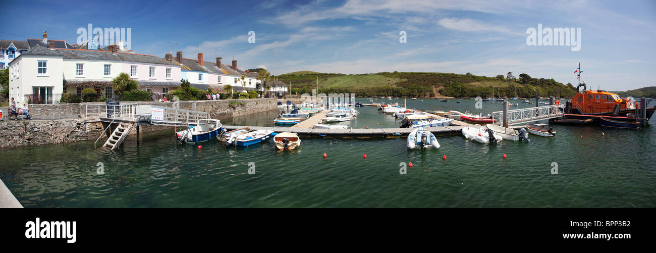 Panoramic of Salcombe moorings, Salcombe, Devon, UK - Stock Image
