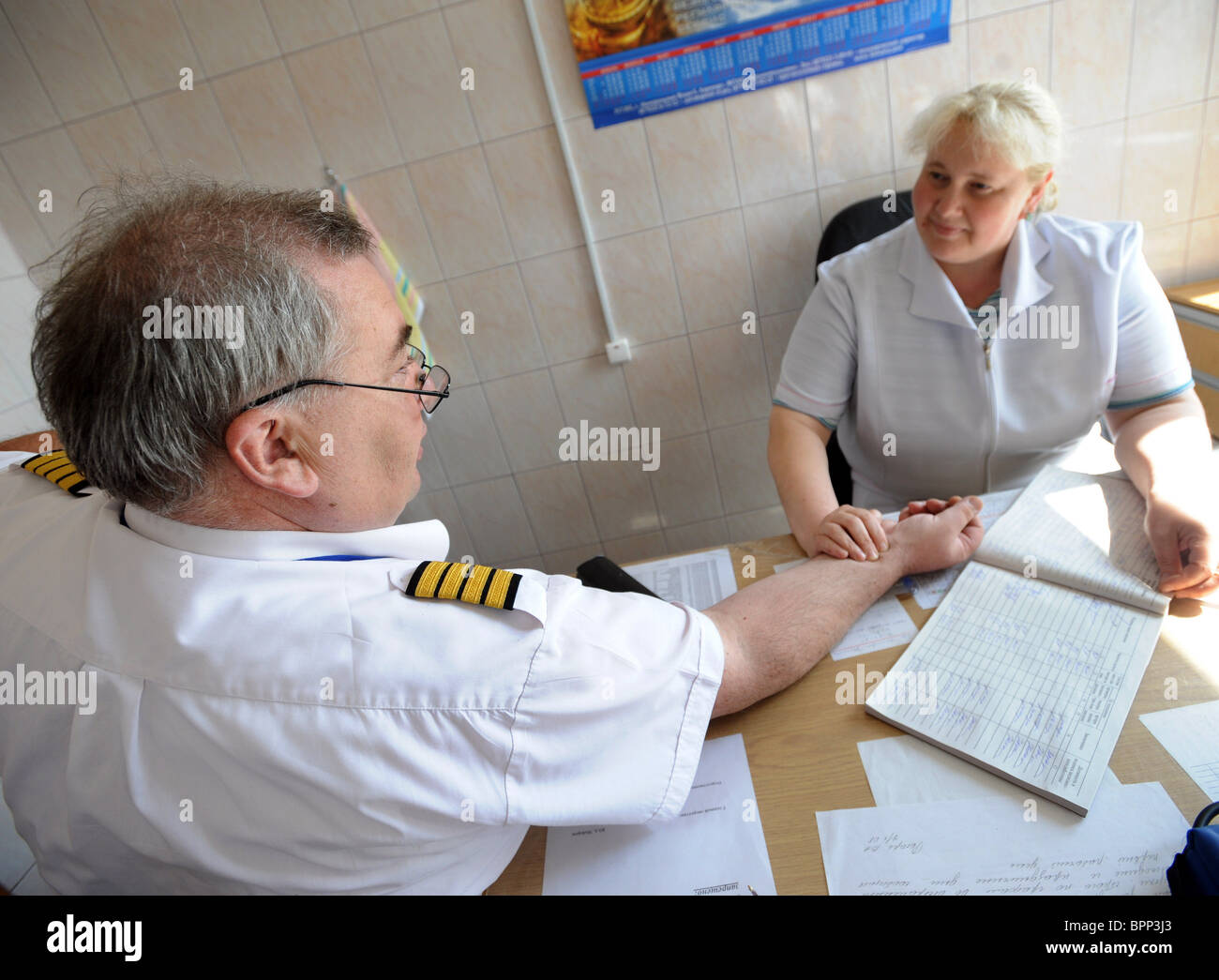 Preflight medical examination of pilots in Moscow - Stock Image