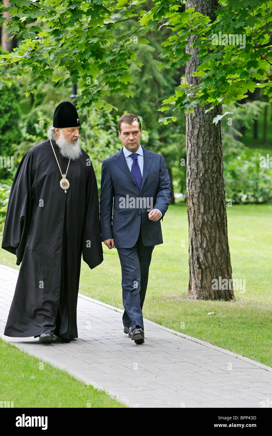 President Medvedev meets with Patriarch Kirill - Stock Image