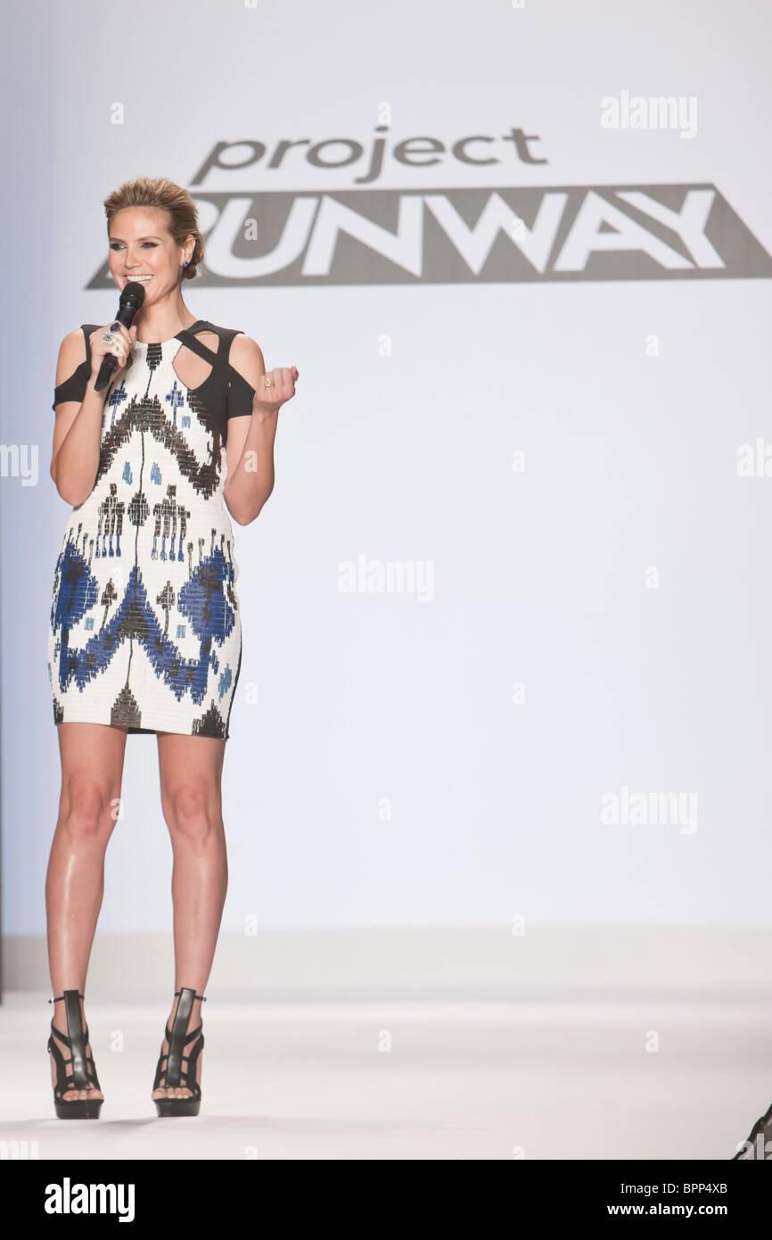 12 february 2010 -New Yok,USA - Project Runway season 7 Heidi Klum at finale fashion show at New York fashion Week. Stock Photo