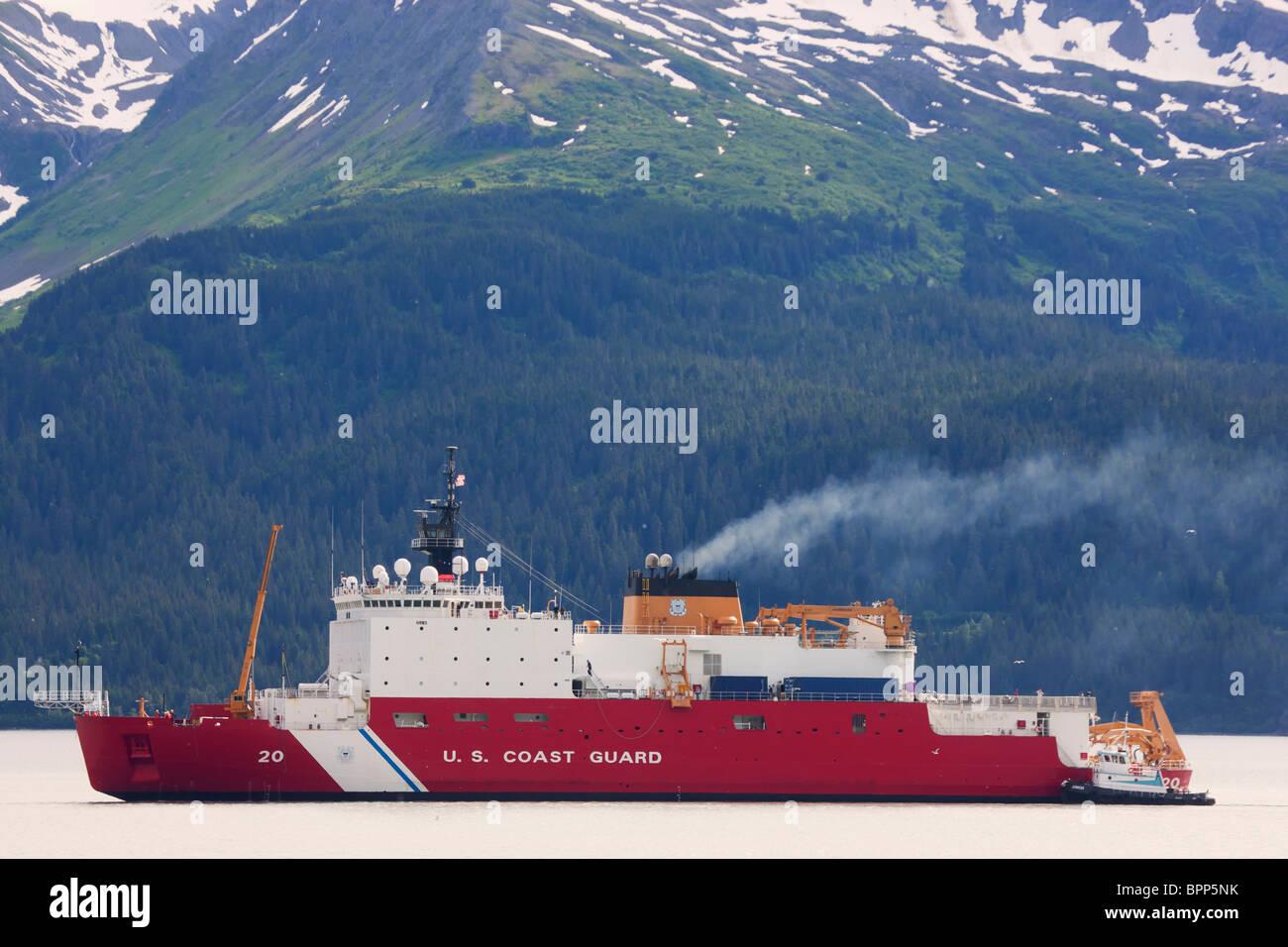 USCG Cutter HEALY, Resurrection Bay, Seward, Alaska - Stock Image