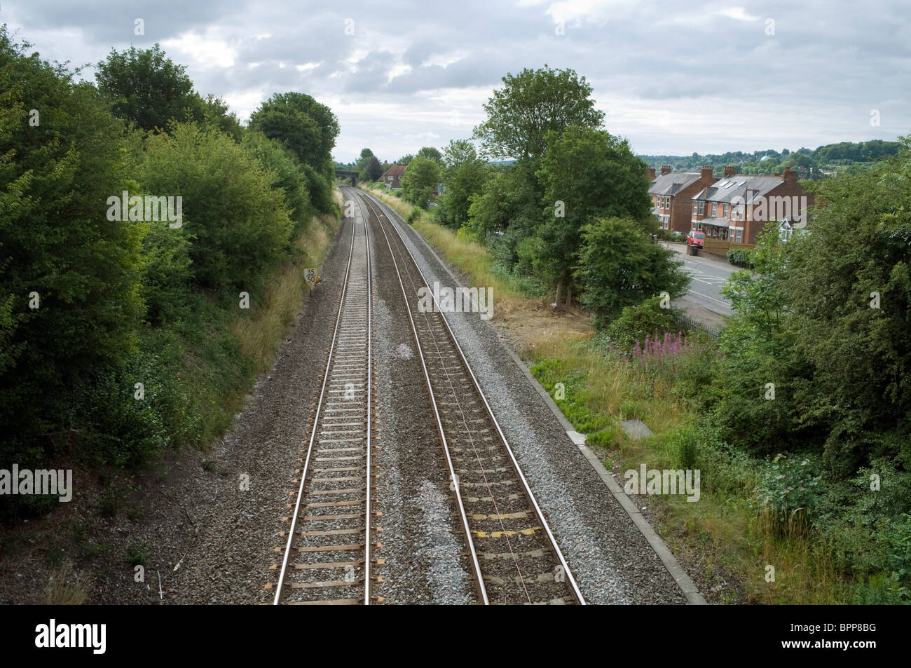 Chiltern railway line and tracks running Eastwards from West Wycombe to High Wycombe - Stock Image