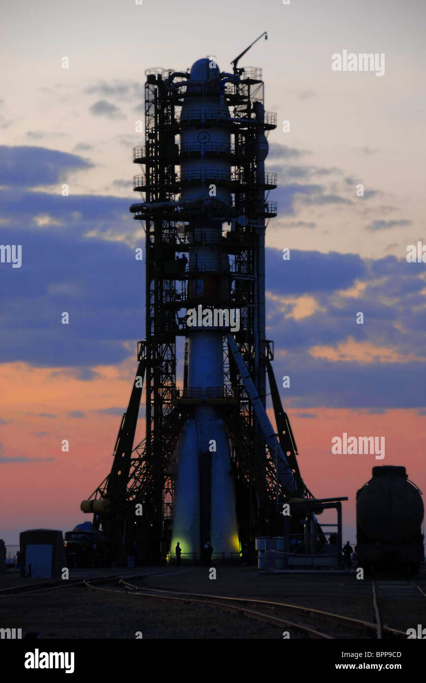 Soyuz-2 rocket with Meteor-M meteorological satellite launched from Baikonur Cosmodrome - Stock Image