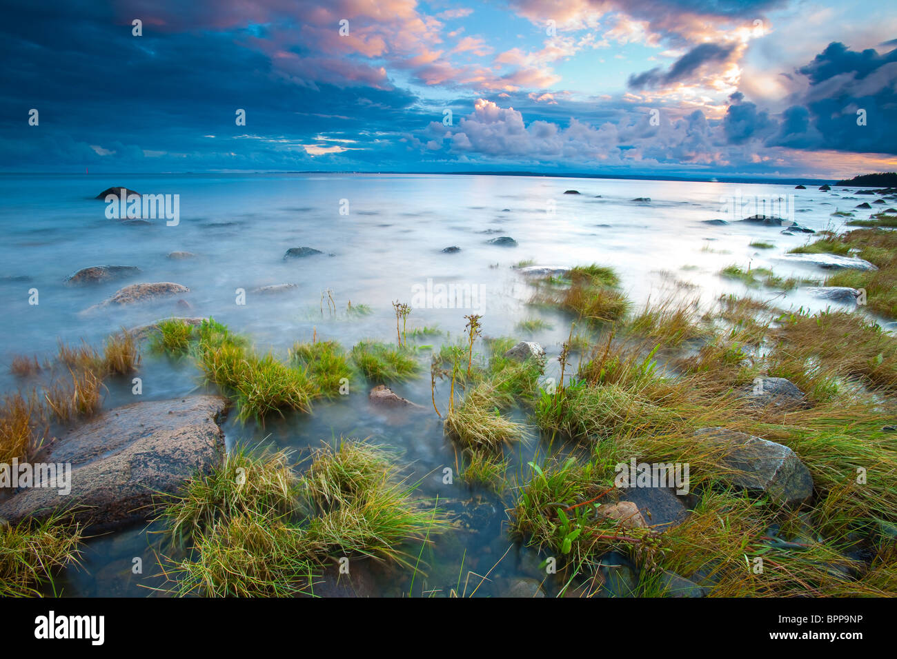 Beautiful evening at the south side of the island Jeløy in Moss kommune, Østfold fylke, Norway. - Stock Image