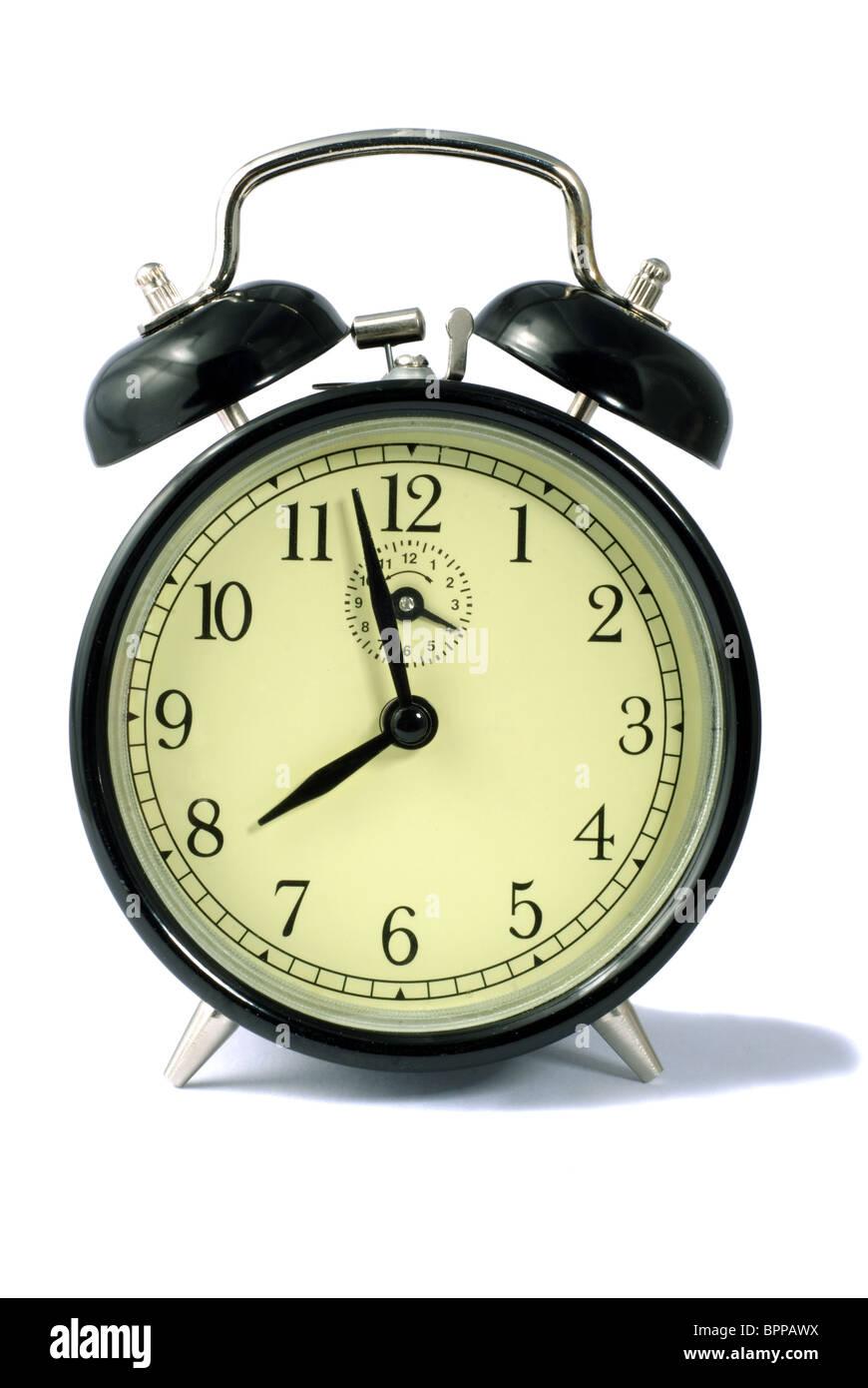 Vintage Style Old Black Clockwork Alarm Clock With Bells Stock Photo