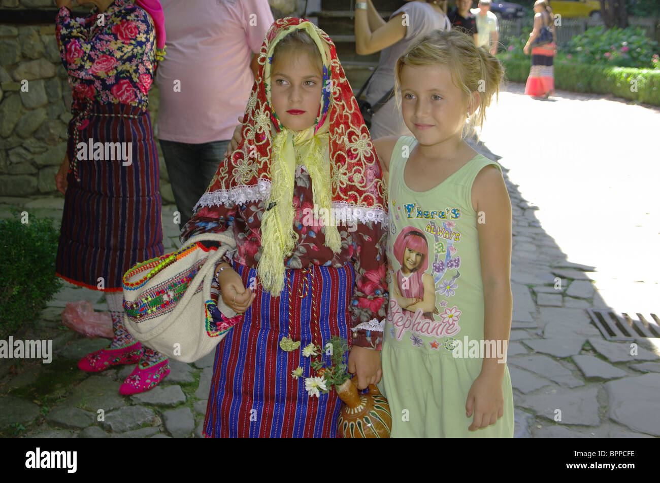 Ethnic tolerate. Children of Muslims and Christians are friends - Stock Image