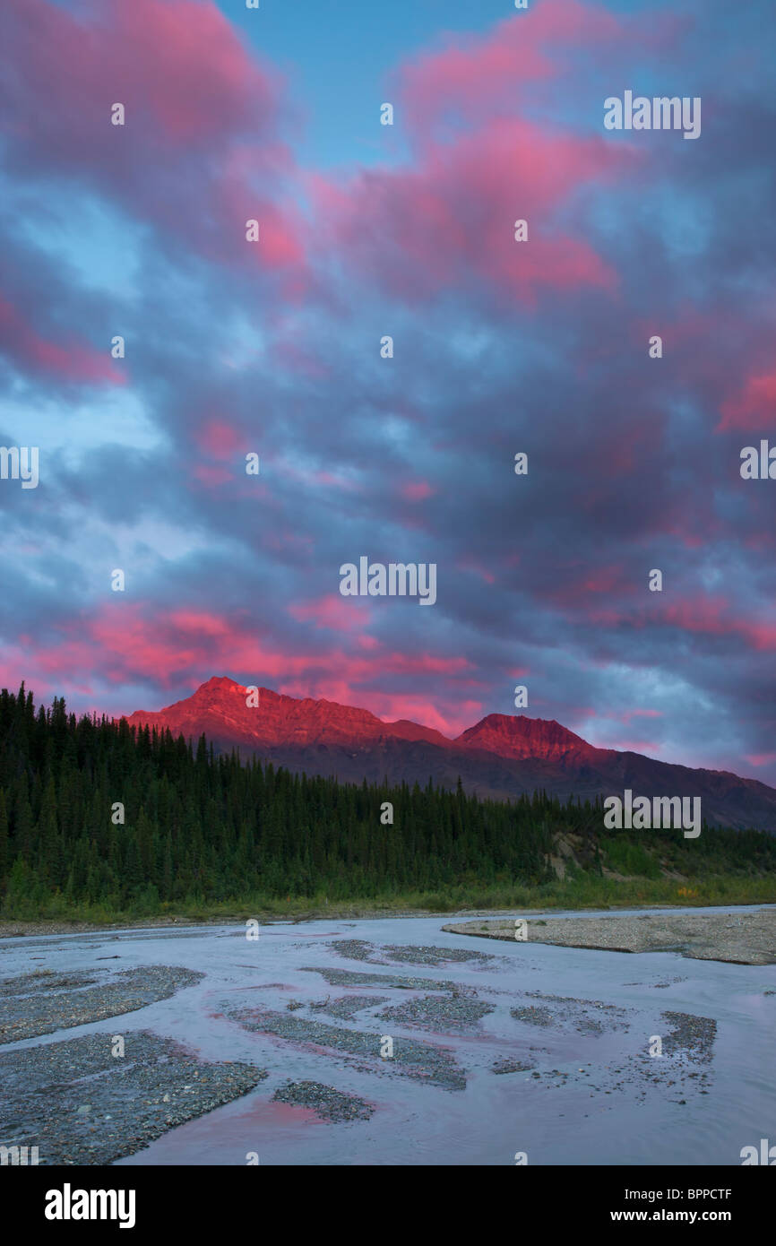 Sunset over the Teklanika River valley, Denali National Park, Alaska. Stock Photo